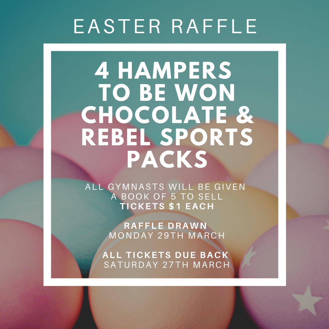 Flyer for 2021 Easter Raffle - Chocolate and Rebel Sports Packs