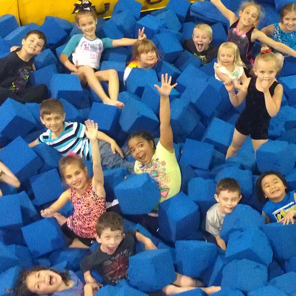 Kids playing in foam pit